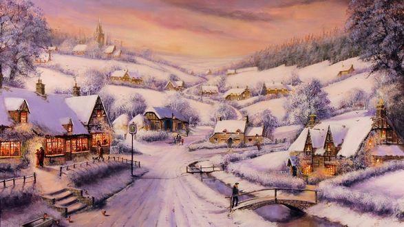 Обои Дорога в деревне зимой и дома под снегом. Люди идут по дороге на закате, художник Thomas Kinkade / Томас Кинкейд