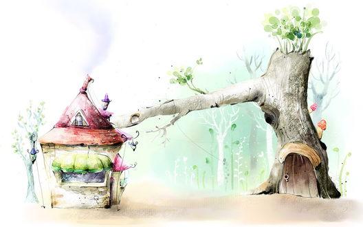 Обои Срубленное дерево, поросшее грибами и листвой, тянется веткой к игрушечному домику