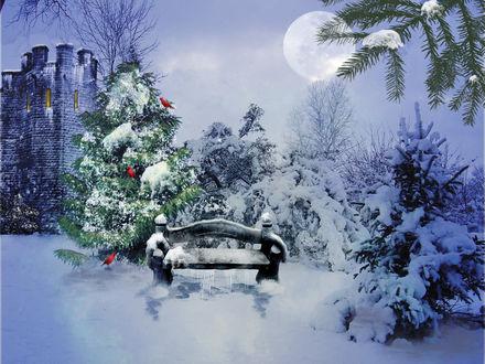 Обои Крепость посреди елок ночью в Новый год под полной луной. Скамейка в снегу возле елки украшенной красными птицами