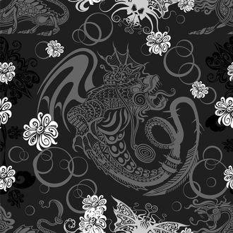 Обои Черно-белый вектор, дракон и цветы
