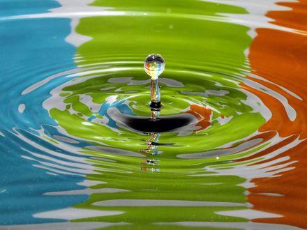 Обои Капля и круги на воде с цветными бликами