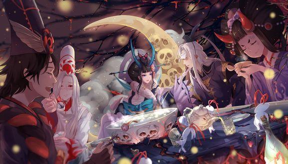 Обои Демоны и екаи весело выпивают ночью за столом из аниме Onmyouji, art by Shan-n