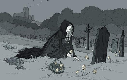 Обои Девушка в плаще с капюшоном собирает цветы возле могил на старом кладбище