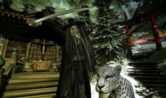 Обои Маг с катаной и белым леопардом