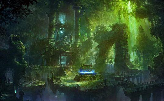 Обои Древняя гробница, заросшая зеленью на фоне пробивающихся лучей солнца