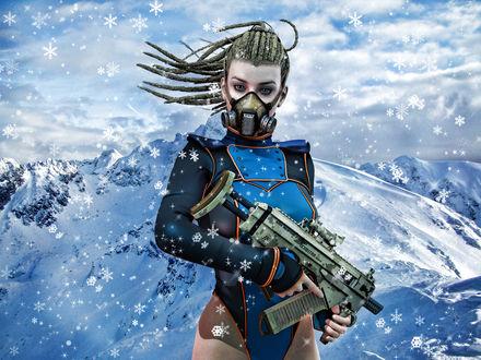 Обои Девушка - воин с оружием на фоне заснеженных гор, by Lilith-Storm