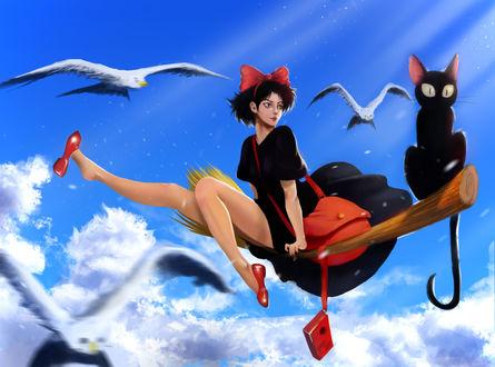 Обои Kiki / Кики и Jiji / Джиджи из аниме Kikis Delivery Service / Ведьмина служба доставки, by SurugaMonkey