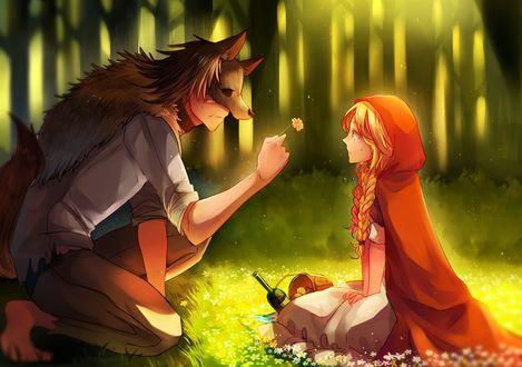 Обои Парень в маске волка дарит девушке в красном плаще с капюшоном цветочек на солнечной лесной полянке, арт по мотивам сказки Красная шапочка и волк