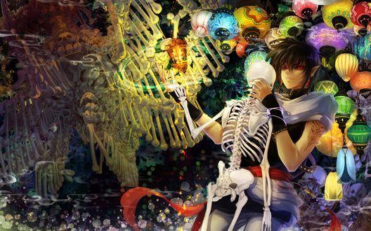 Обои Парень танцует со скелетом на фоне фонарей и костей