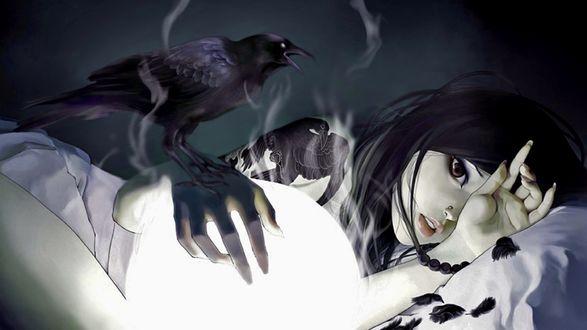 Обои Девушка аниме лежит на постели в окружении черных воронов