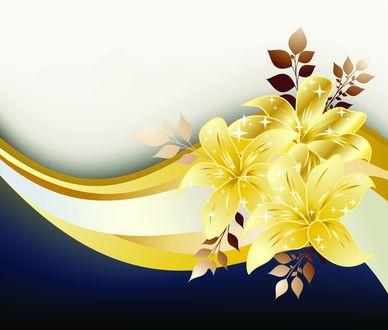 Обои Линии и желтые лилии с веточками листьев