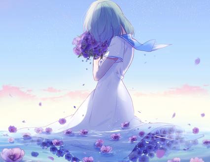 Обои Девушка с букетом цветов стоит в воде с цветами, by lluluchwan