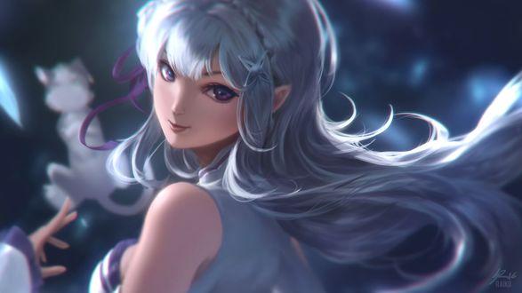Обои Эмилия / Emilia из аниме Re: Жизнь в альтернативном мире с нуля / Re:Zero kara Hajimeru Isekai Seikatsu, by raikoart