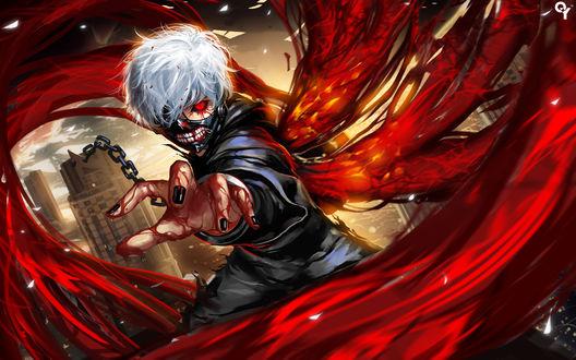 Обои Ken Kaneki / Кен Канеки из аниме Tokyo Ghoul / Токийский Гуль, by Liang-Xing