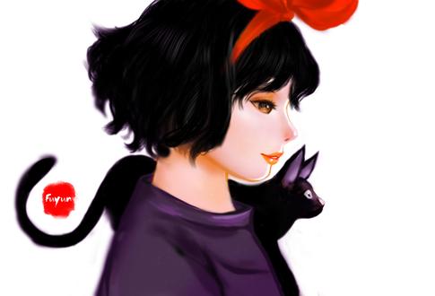 Обои Kiki / Кики и Jiji / Джиджи из аниме Kikis Delivery Service / Ведьмина служба доставки, by Fuyunanzi