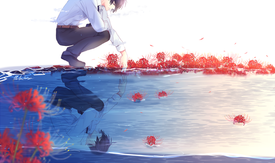 Обои Грустный парень курит сидя у воды, опустив туда руку и глядя на свое отражение, с ликорисами, by lluluchwan