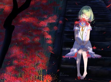 Обои Девочка, с цветами в руках, сидит на ступеньках, by lluluchwan
