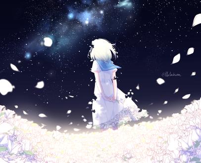 Обои Девочка стоит под ночным небом, by lluluchwan