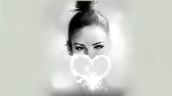 Обои Лицо девушки закрывает сердечко, art by Kyrie0201