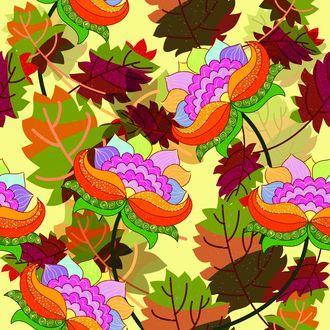 Обои Векторный рисунок ярких цветов и листьев