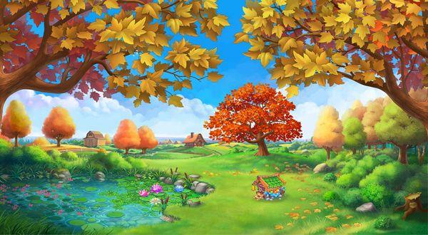 Обои Домик у озера и осенние деревья под голубым облачным небом, by Bahryi