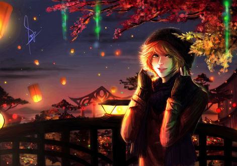 Обои Девушка в шапке стоит на фоне цветных листьев и фонарей на небе, by HammySan