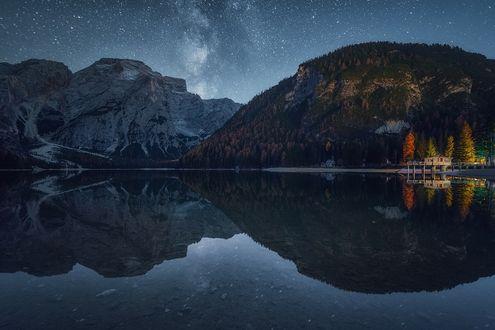 Обои Пожелтевшие деревья на берегу горного озера, фотограф Albert Dros