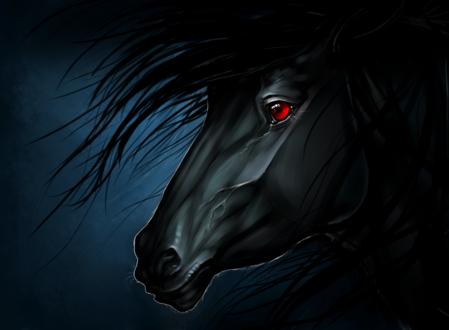 Обои Черный конь с красными глазом, by Myval-miki