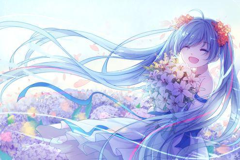 Обои Vocaloid Hatsune Miku / Вокалоид Хатсунэ Мику с букетом белых лилий на фоне цветущего поля