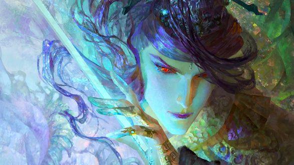 Обои Парень эльф с красными глазами и фиолетовыми волосами