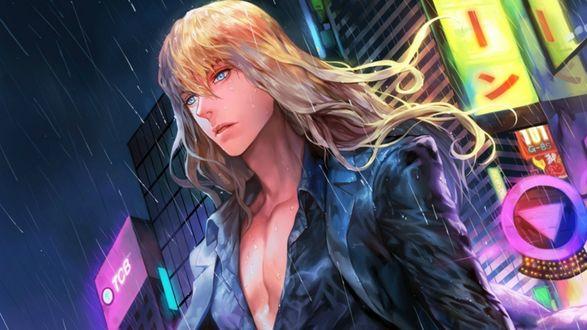 Обои Парень с голой грудью в городе под дождем на фоне рекламы