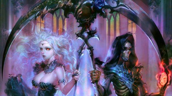Обои Девушка-блондинка и смерть с перекрещенными косами на фоне готического собора и тумана