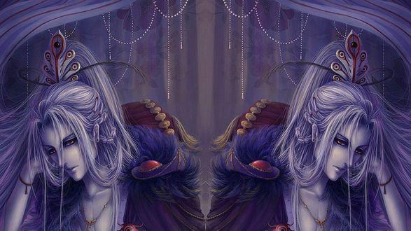 Обои Грустный Парень блондин в кресле отражается в зеркале