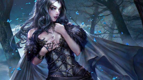 Обои Грустная девушка в лесу в окружении бабочек ночью