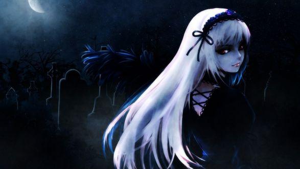 Обои Суйгинто / Suigintou из аниме Девы Розена / Rozen Maiden туманной ночью на кладбище под луной