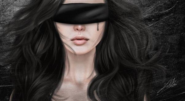 Обои Девушка с черной повязкой на глазах плачет кровью