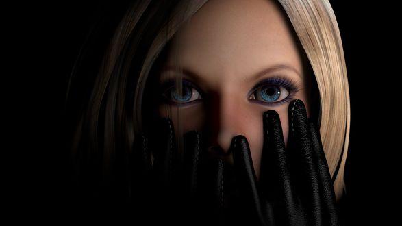 Обои Девушка блондинка с голубыми глазами закрывает лицо руками в перчатках