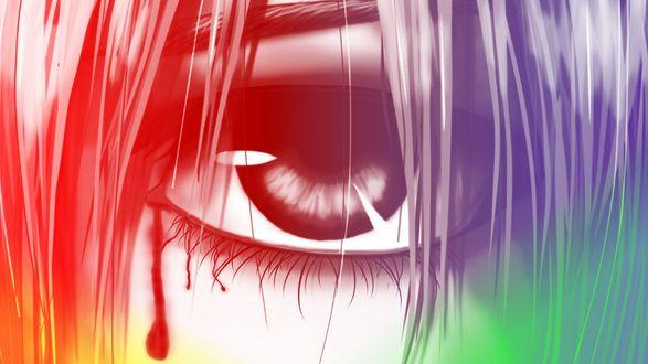 Обои Глаз плачущей кровью Люси / Lucy из аниме Эльфийская песнь / Elfen Lied