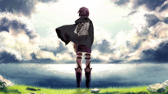 Обои Mikasa Ackerman / Микаса Акерман в накидке с изображением скелета стоит на берегу моря на ветру, аниме Shingeki no Kyojin / Атака Титанов