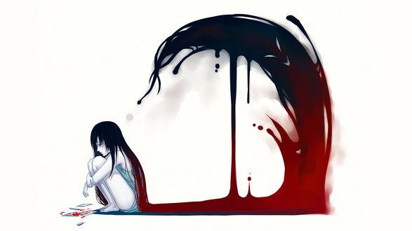 Обои Девушка сидит на полу, по волосам стекает кровь и поднимается злой тенью к ней