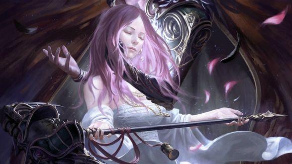 Обои Девушка с розовыми волосами и закрытыми глазами, с копьем в руках, by 90chin