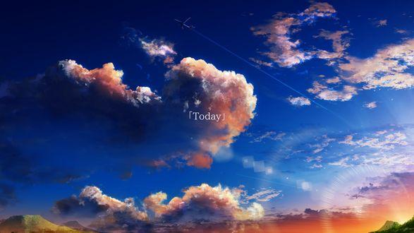 Обои Самолет в небе над облаками, (Today / сегодня), by Y_Y