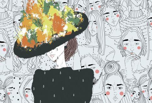 Обои Работа Грустная осень, девушка в шляпе с осенними деревьями стоит на фоне лиц людей, by Valeria Naumova
