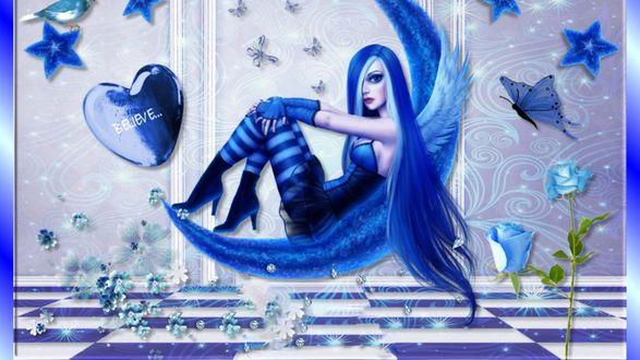 Обои Девушка-фея с синими волосами сидит на луне на фоне стены с бабочками и сердцем с надписью Love / любовь