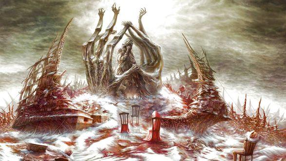 Обои Сюрреалистический зимний пейзаж. Деревья-руки на холме тянутся к небу, в окружении стульев, на одном из которых сидит мальчик