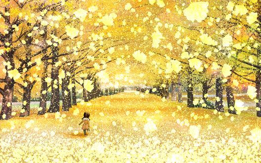 Обои Девочка гуляет по осеннему парку, by kun52
