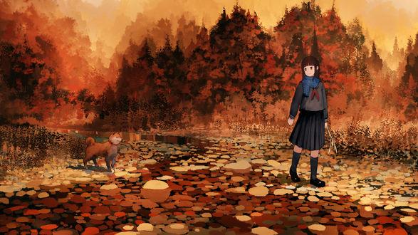 Обои для рабочего стола Девушка с собакой гуляет в осеннем парке, by jan (lovehishigi) (© chucha),Добавлено: 30.09.2017 12:55:14