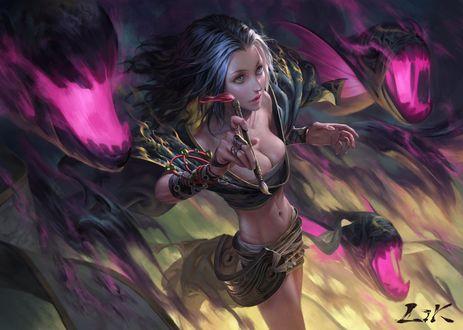 Обои Фантастическая девушка с кисточкой в руке в окружении драконов, by yooncode