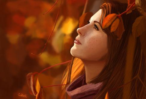 Обои Портрет рыжеволосой с веснушками на лице девушки в профиль на фоне листьев, by Wolkenfels
