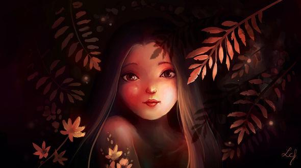 Обои Девушка на фоне листьев, by Ludmila-Cera-Foce